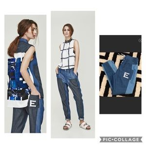 Echtego Designer chambray high rise pants lace up